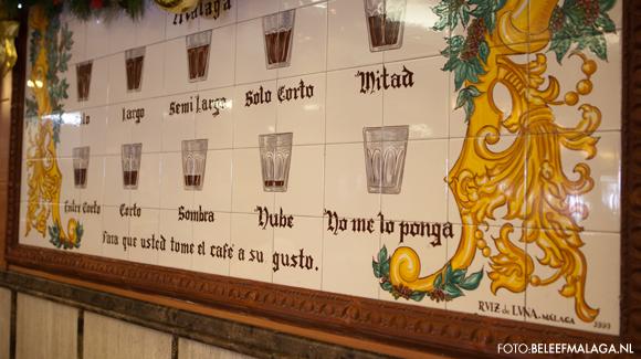 Bord koffie in Malaga